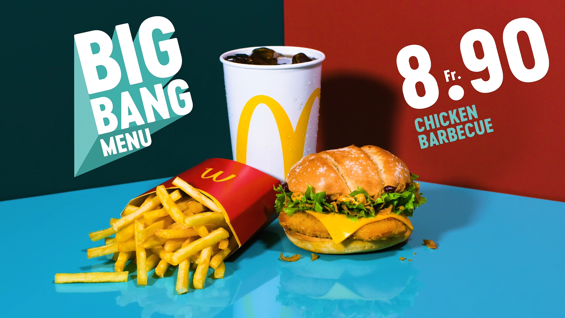 A McDonald's BigBang Menu with a Chicken Barbecue Burger, a Coca Cola and some fries