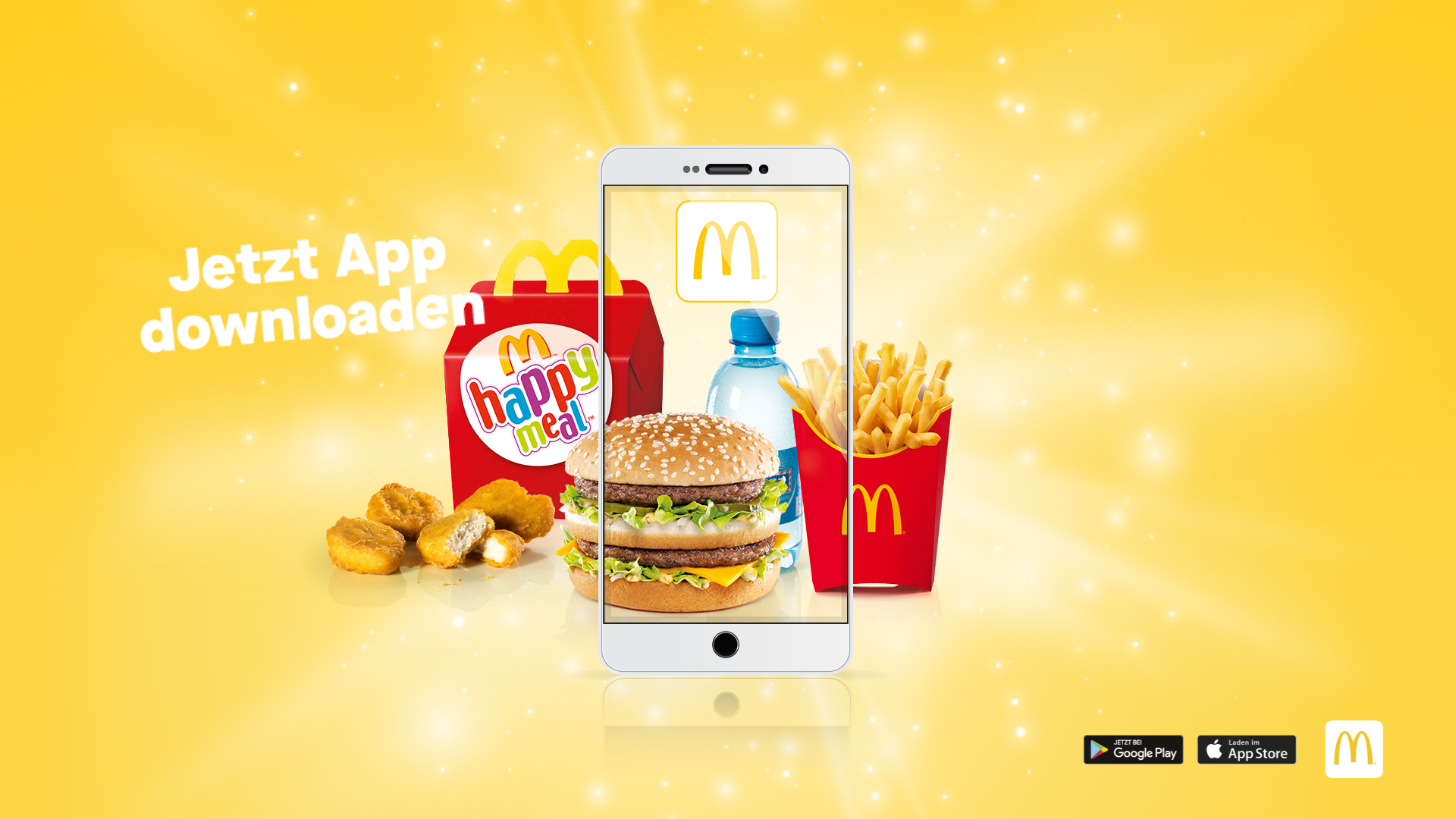A 3D Still Image of a McDonald's Happy Meal, a BigMac and Fries, seen on a Mobile Phone
