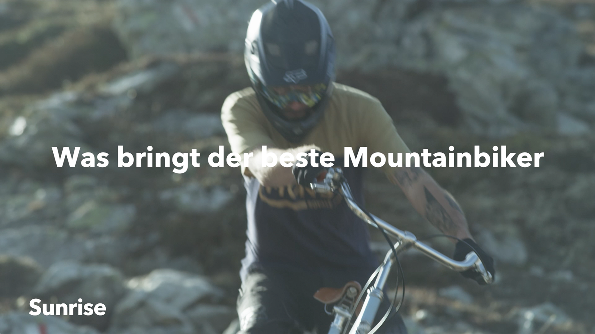 Front Close-Up of a Mountainbiker on a City Bike riding down a steep mountian