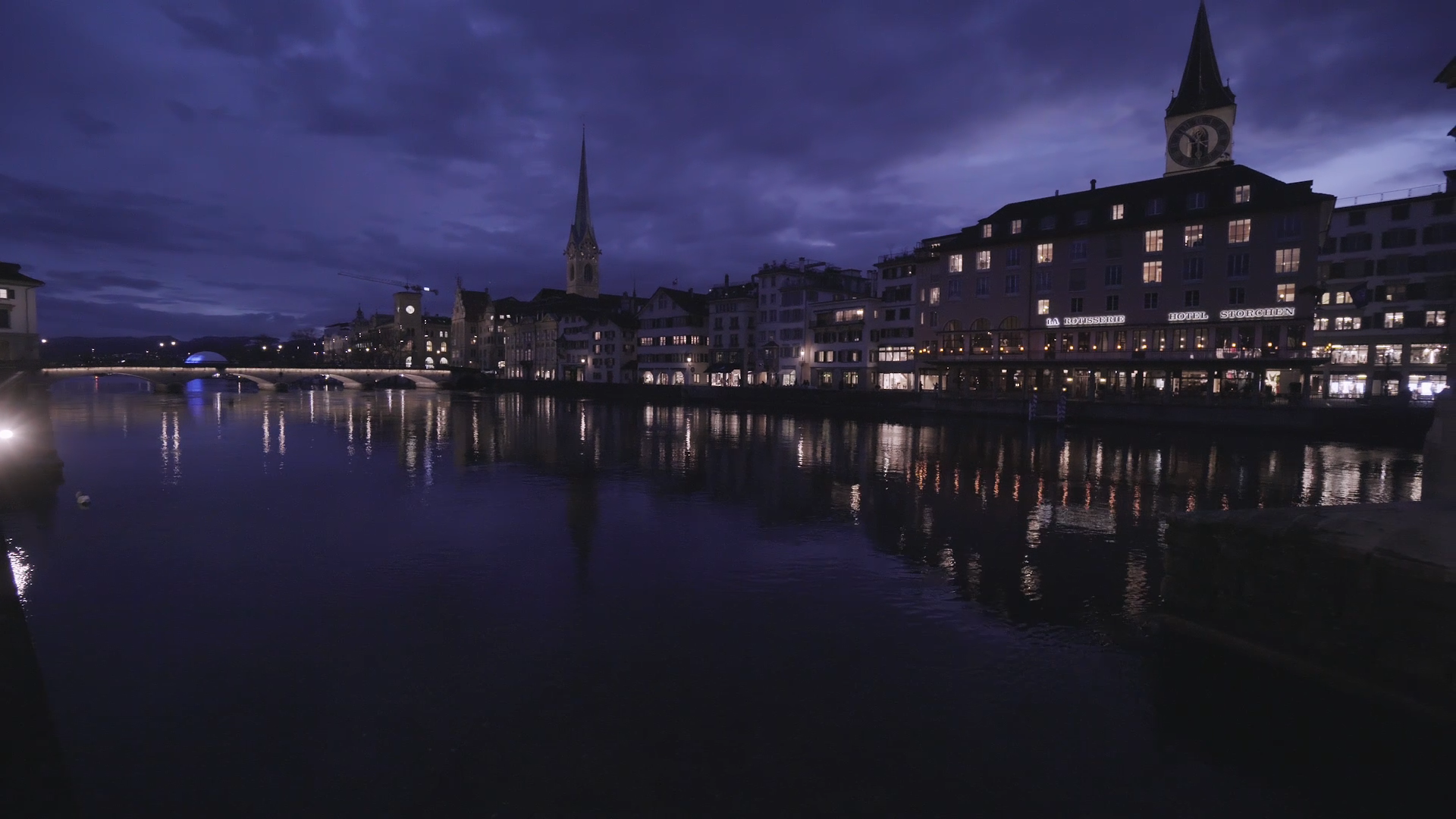 Zürich by Night, seen from a bridge over the river