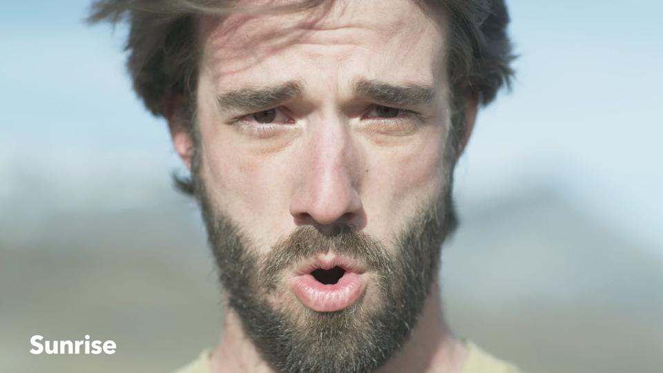 Close-Up Man face on mountain