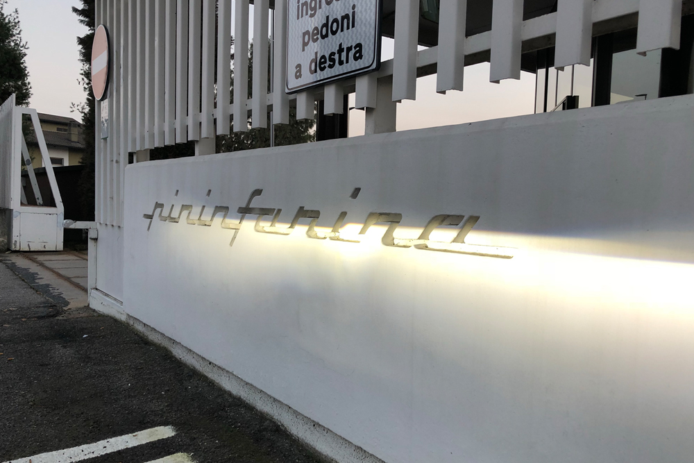 Pininfarina Logo at Entrance in Turin