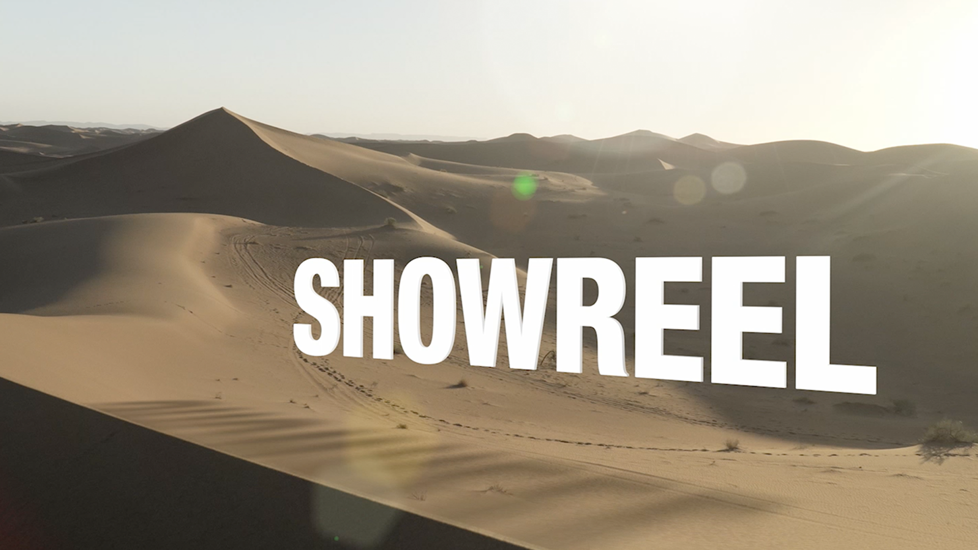 Showreel written out digitally with Moroccan dessert in the background