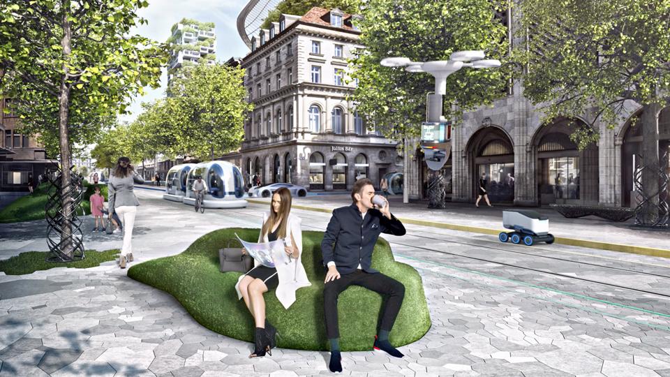 Wide shot of Zürich Bahnhofstrasse in the future